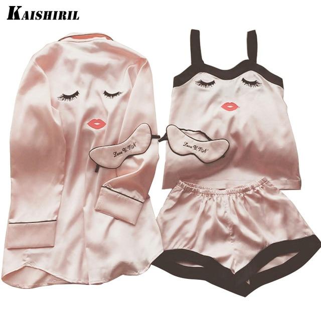 Satin Pajamas for Women Elegant 3 Pieces Sleepwear Female Sexy Silk Pajamas Set Coat+Vest+Shorts Pyjamas women Sleep & Lounge