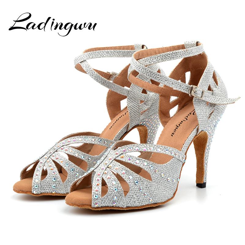 Ldaingwu New Golden/Silver Shoes For Ballroom Dancing Woman Flash Cloth Collocation Shine Rhinestone Latin Dance Shoes Women's