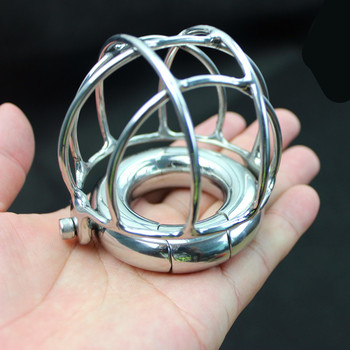 Male Stainless Steel Scrotum Pendant Bearing Ring Hollow Cage Ventilation Cover Restraint Testicle Cockings Sex Toy for Men B248