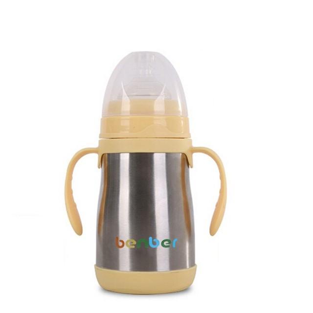 Bebé Botella de Aislamiento de Acero inoxidable Mango PP Niños Cuidados De Enfermería Alimentación Alimentador de Leche Jugo de Fruta Taza Infantil 240 ML