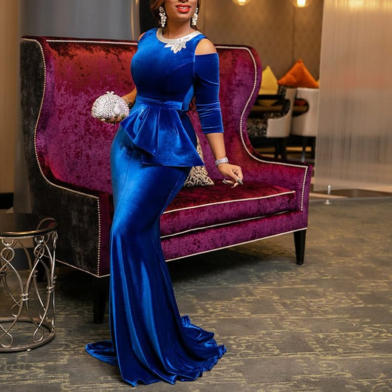 Elegant Blue Dinner Dress 2019 Plus Size Sexy Long Mermaid Dresses Ruffles Lace Up African Vintage Women Maxi Dress Robe