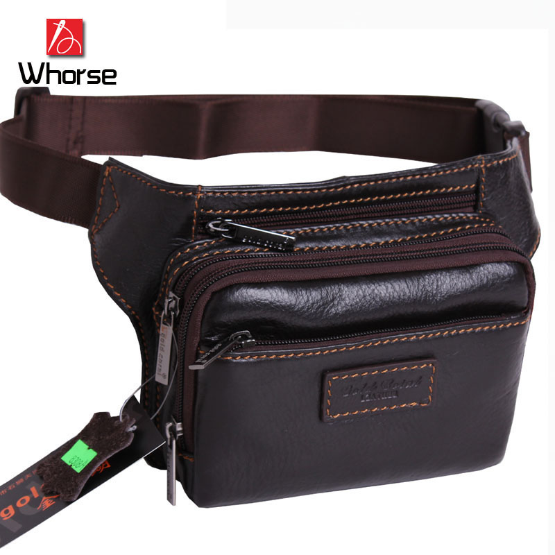 Brand Logo ! Genuine Leather Men Vintage Travel Waist Pack Small Mobile Phone Belt Bag Chest Messenger Bags WA8308 - Whorse 's Store store