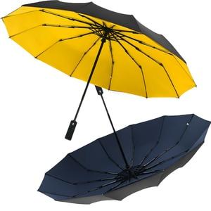 Image 1 - Paraguas de negocios grandes para hombre y mujer, sombrilla automática completa con 12 costillas, tres Paraguas Plegable para hombre y mujer, 2020