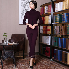 2018 New Purple Women Knitting Woolen Warm High Collar Set Traditional Chinese Lady Embroidery Flower Shirt&Pant Suit L-XXL