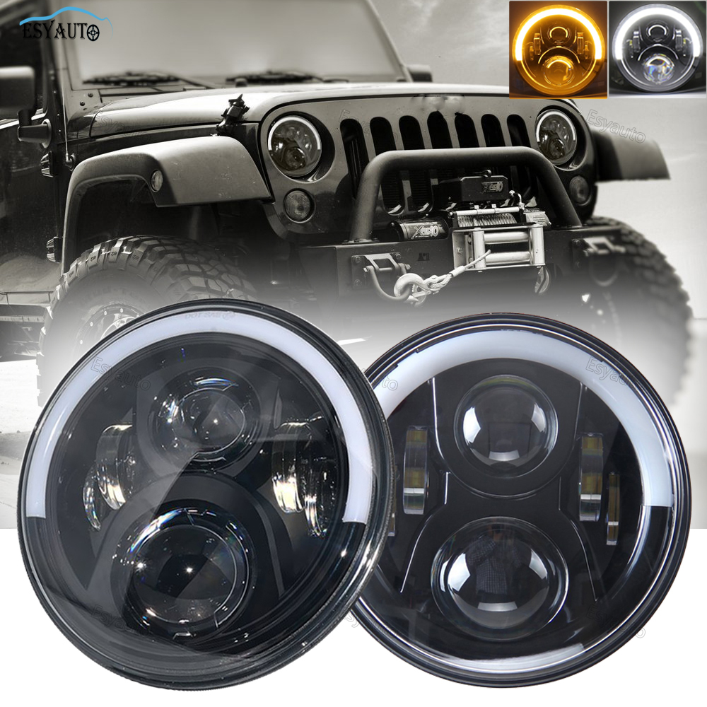 1 Pair 7 LED Headlights White/Amber Half Angel Eyes Halo Ring with DRL 60W Headlamp for Jeep Wrangler JK LJ TJ 4x4 Off Road 7 inch 120w 9000 lumen hi lo beam led headlights with half top halo ring angel eyes drl turn signal for jeep wrangler jk tj lj