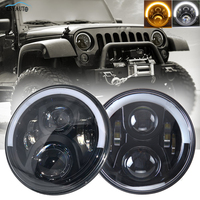 1 Pair 7 LED Headlights White/Amber Half Angel Eyes Halo Ring with DRL 60W Headlamp for Jeep Wrangler JK LJ TJ 4x4 Off Road