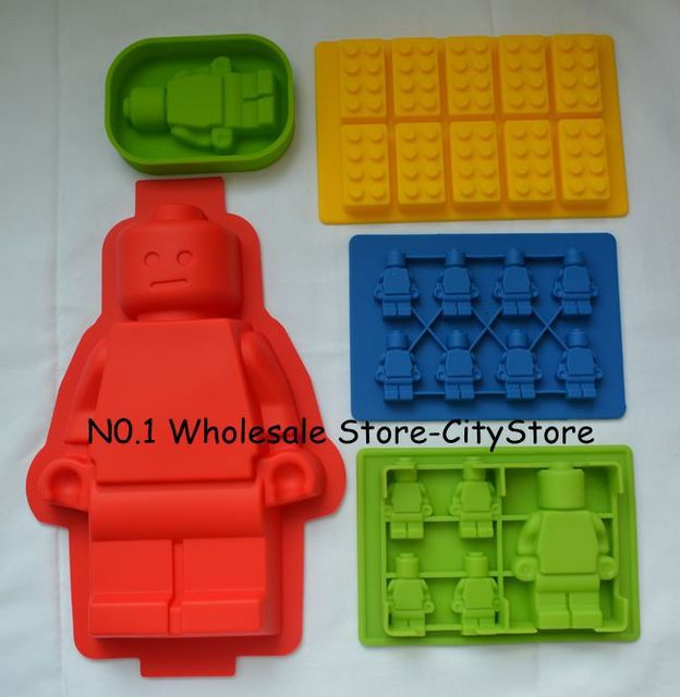 5x Silicone Lego Brick & Minifigure Man Robot Ice Trays Ice Mold ...