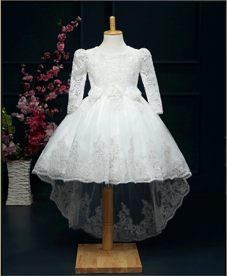 elegant lace tutu dresses for girls 2016 spring long sleeve frocks children princess kids party wear girl dress for 4-12 years