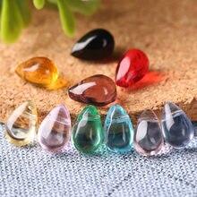 Contas de vidro à prova d'água 30, pçs/lote, 6*9mm, multicores, gota de lágrima, pingente, colar, faça você mesmo acessórios de joias
