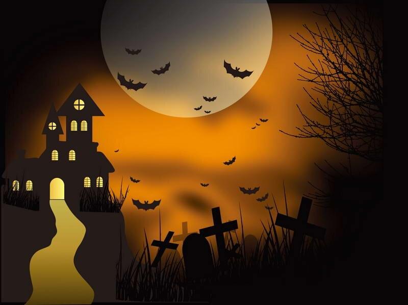 10x10ft laranja c u lua dos desenhos animados casa caminho cemit rio cruz bats halloween costume. Black Bedroom Furniture Sets. Home Design Ideas