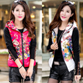 2016 autumn and winter down cotton vest female printing Slim thin coat Hooded cotton vest short girls