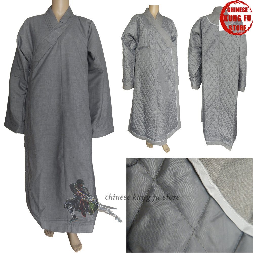 Top Quality Winter Buddhist Monk Dress Shaolin Kung Fu Uniform Lay Masters Meditation Robe Martial Arts Suit
