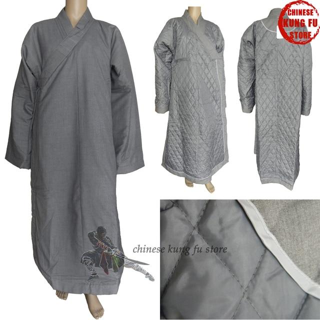 5cb3239c1 Top Quality Winter Buddhist Monk Dress Shaolin Kung fu Uniform Lay Masters  Meditation Robe Martial arts Suit