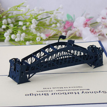2017 new fashion 3D Greeting Card Creative Paper Carving / Creative Travel Memorial Card / Sydney Bridge 3D Greeting Card