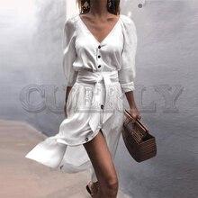 CUERLY Elegant v-neck A-line women dress Half sleeve button sash belt bow tie solid female dress Vintage chic ladies dress 2019 women s chic sleeveless solid color v neck a line dress