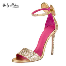 Onlymaker Women's Sandals Shoes Luxury Gold Colour 12cm Thin Heel Fashion Ankle Strap Heeled Mickey Mouse Sandals Plus size 15