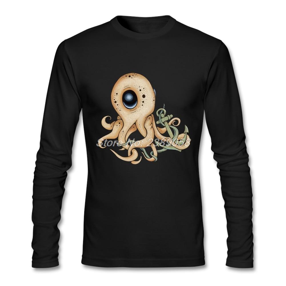 Shirt design octopus - Men Design T Shirts Newest Anchor Tee Luxury Brand Long Sleeve Octopus Man T Shirt
