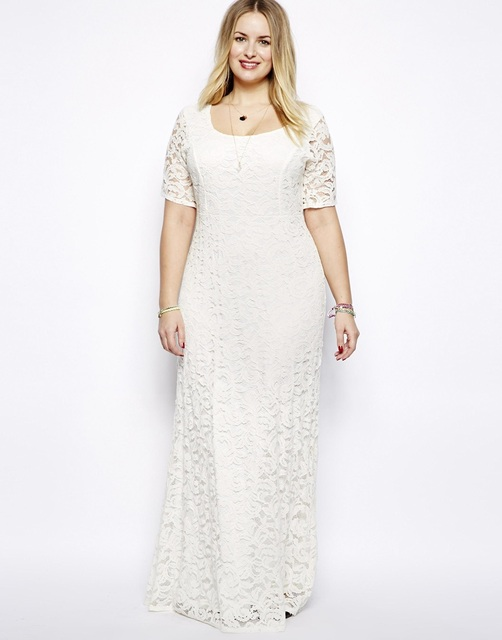 Plus Size 3XL 6XL wedding long dress Elegant Women Evening White ...