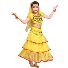 2017 Indian Children Belly Dance Costumes Stage Performance Belly Dance India Dance Sequined Clothes 2Pcs/3Pcs/5Pcs Set 3 Colors
