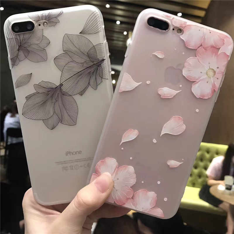 New Flower Silicon Phone Case on For iPhone 6 7 8 Plus X XS Flowers and animals Cases on For iPhone X 8 7 6 Plus Soft TPU Cover