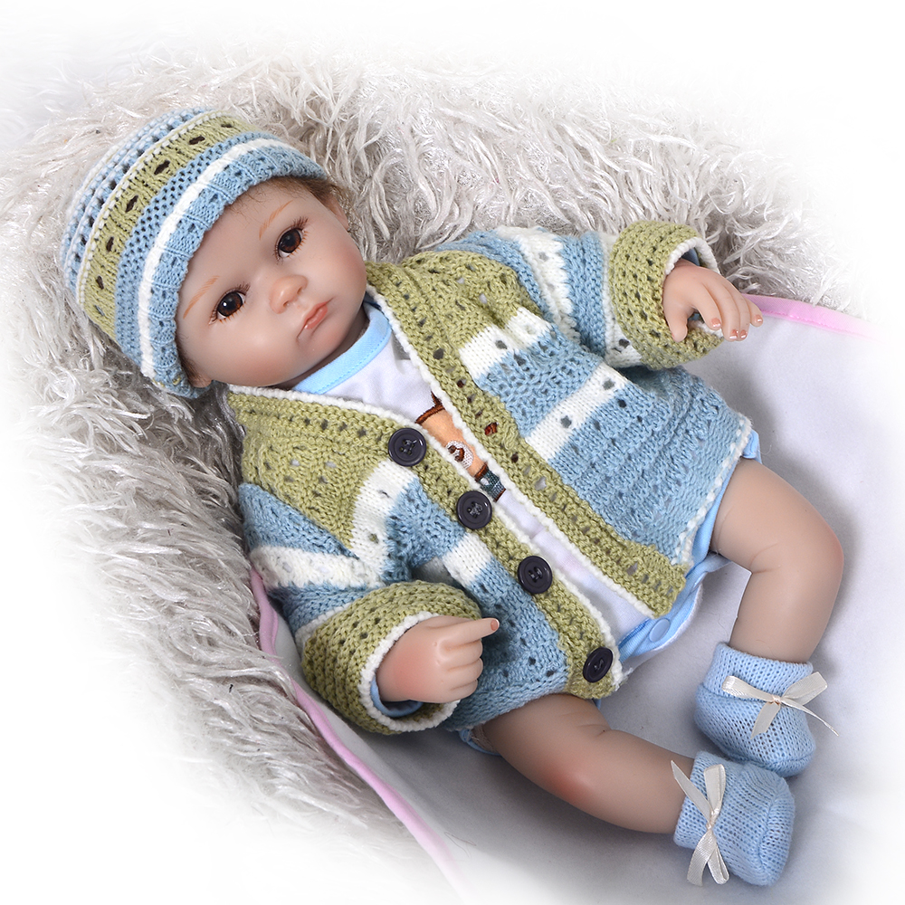 Handmade 17 Inch reborn dolls lifelike silicone soft newborn baby doll realistic boy babies gift for children Christmas gift short curl hair lifelike reborn toddler dolls with 20inch baby doll clothes hot welcome lifelike baby dolls for children as gift