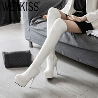 WETKISS Plus Size 34 46 New Autumn Winter Platform Round Toe 13cm Thin High Heel Over The Knee Boots Thigh High Boots Women 2018