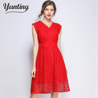 High quality luxury runway Hollow Out Lace Dresses Women V neck Sleeveless High Waist Summer Dress