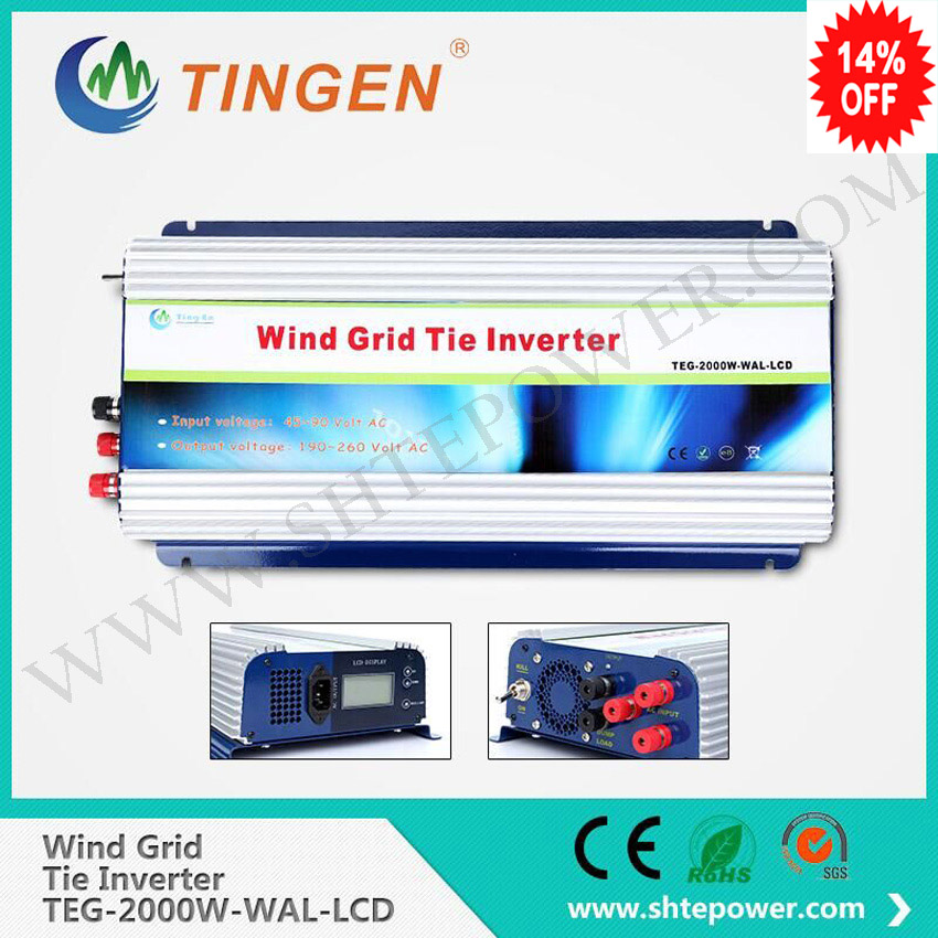 2000W Grid Tie Inverter with Dump Load for 3 Phase AC Wind Turbine Grid Tie Inverter 45-90V Input LCD Pure Sine Wave NEW ! micro inverter 600w on grid tie windmill turbine 3 phase ac input 10 8 30v to ac output pure sine wave