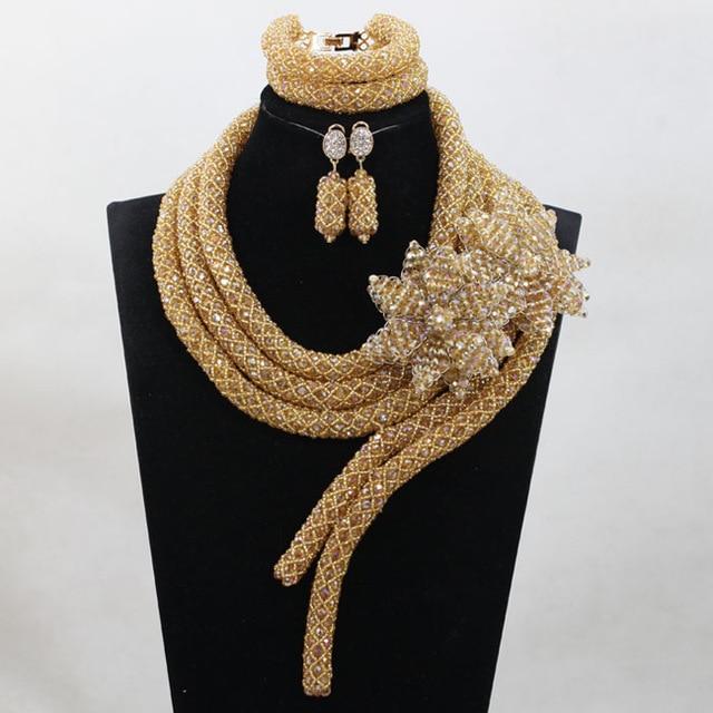 Mode Champagne or nigérian fête de mariage perles ensemble de bijoux en cristal Costume ensemble de bijoux de mariée ANJ373