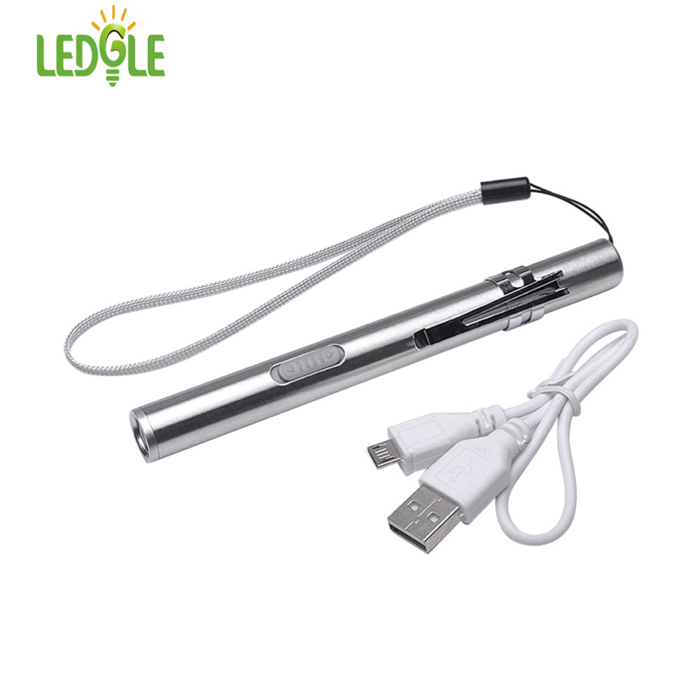 LEDLE USB Rechargeable LED Flashlight High-quality Powerful Mini LED Torch XML Waterproof Design Pen Hanging With Metal Clip Cat