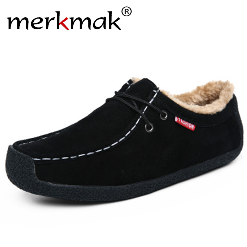 Merkmak Fashion Winter Warm Men Fur Shoes Comfort Suede Leather Shoes Man Plush Casual Sneakers Soft Loafers Plus Size 39-51
