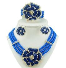 Collar de cuentas de joyería conjuntos african big conjunto de joyas de color blanco rose de la joyería de las mujeres collar de perlas africanas joyería conjunto blanco