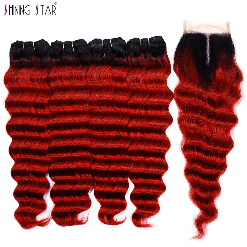 1B Red Ombre Loose Deep Wave Bundles With Closure 4 Brazilian Hair Weave Bundles With Closure Ombre 100 Human Hair Weave Nonremy