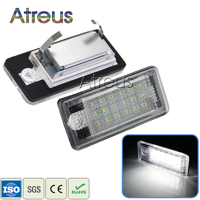 цены Atreus Car-styling 2Pcs LED Number License Plate Lights 12V For Audi A4 b6 8E A3 S3 A6 c6 Q7 A4 b7 A8 S8 S6 RS4 RS6 accessories