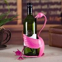 Creative Wrought Iron Art Flamingo Figurine Wine Stand Decorative Metal Drinking Utility Barware Ornament Craft Accessories