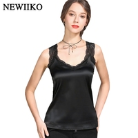 5908101e82 Sexy Fashion Women Camis Summer Tank Tops Silk Lace Splicing Mesh  Sleeveless Big Size Solid Color