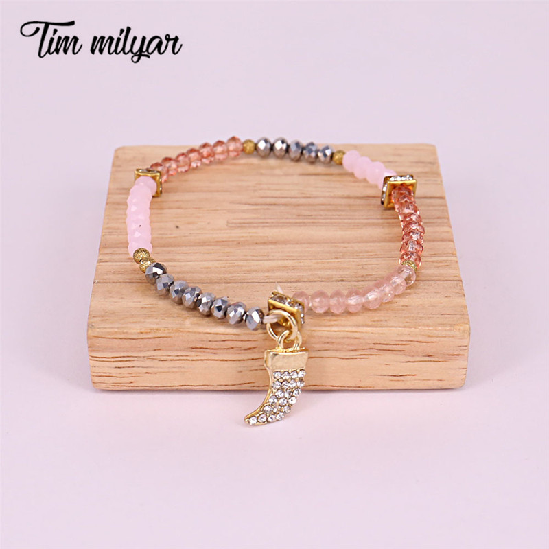 Tim Milyar Women Cuteromantic Beads Bracelets & Bangles For Girlfriend Elastic Strand Chain Bracelets Evening Party TMB0333