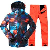 GSOU снег Для мужчин лыжная куртка штаны Лыжный спорт Сноуборд костюм ветрозащитный Водонепроницаемый Термальность уличная спортивная одеж