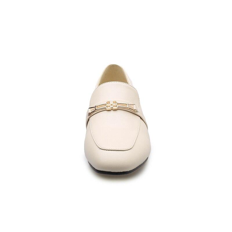 New Kiss Shoes Square Spring 2019 Size Donna Big Tacchi Wet Nero Toe spessi pumps Mocassini Albicocca 43 Pu Donna Casual rrO0q