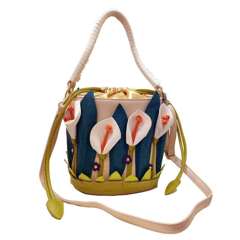 Italy Borse Braccialini Luxury brand Women Handbags Shoulder Bucket Lilies Flower Messenger bag Cross Body Sacs