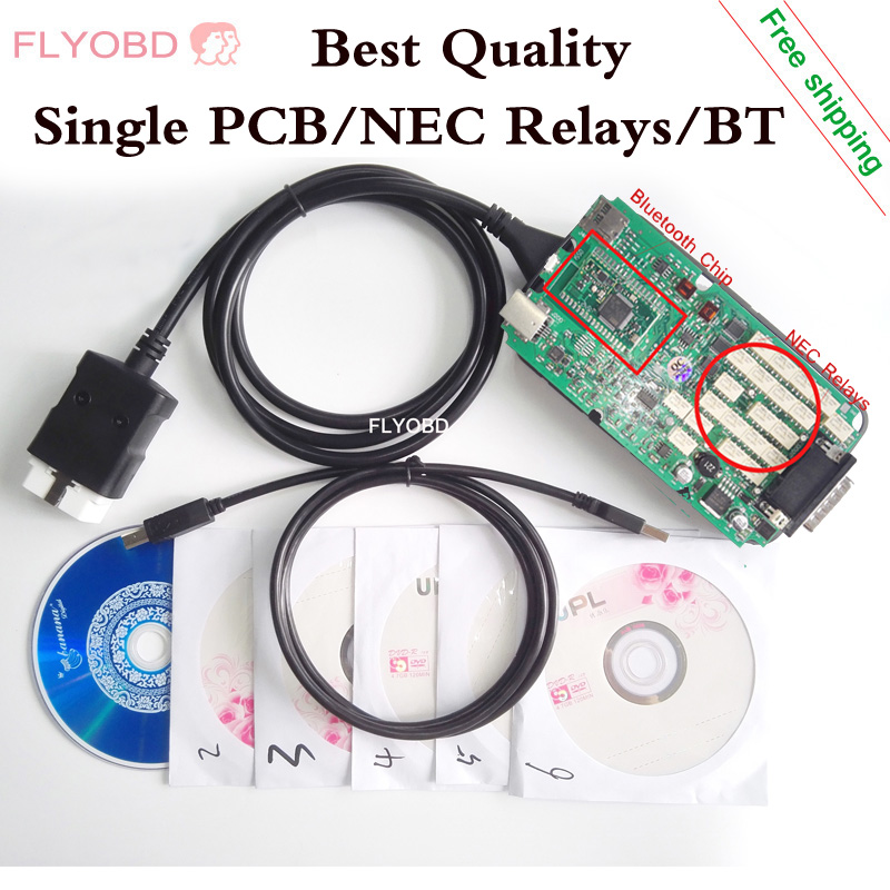 2016 Best Quality Single PCB CDP TCS Car Diagnostic Tool With WoW V5 008R2 Software For