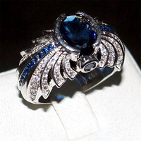 Choucong Jewelry Men S 925 Sterling Silver Ellipse Blue 5a Zircon Stone Pave Cz Ring Engagement