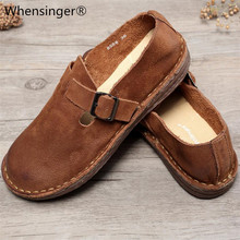 Whensinger - 2019 New Arrival Genuine Leather Shoes Women Round Toe Flats Buckle Strap Design 8566 Casual sneakers