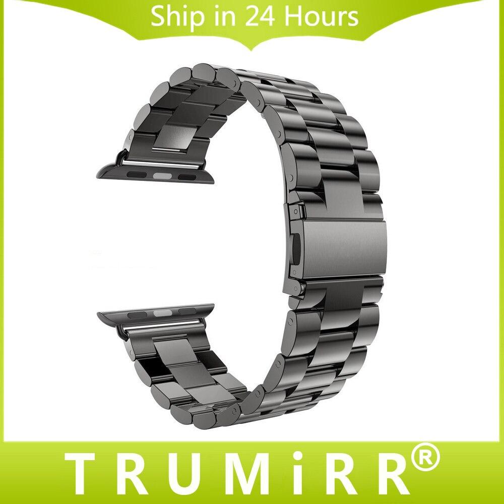 Bracelet En Acier inoxydable pour Apple iWatch Montre/Sport/édition 38mm 42mm Bracelet Bracelet Bracelet avec adaptateur Noir argent