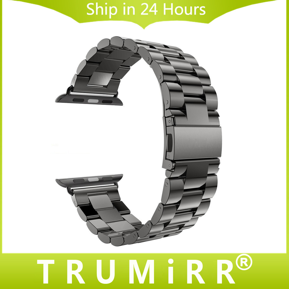 купить Stainless Steel Watchband for iWatch Apple Watch 38mm 40mm 42mm 44mm Series 4 3 2 1 Wrist Band Sport Bracelet Strap Black Silver по цене 557.49 рублей
