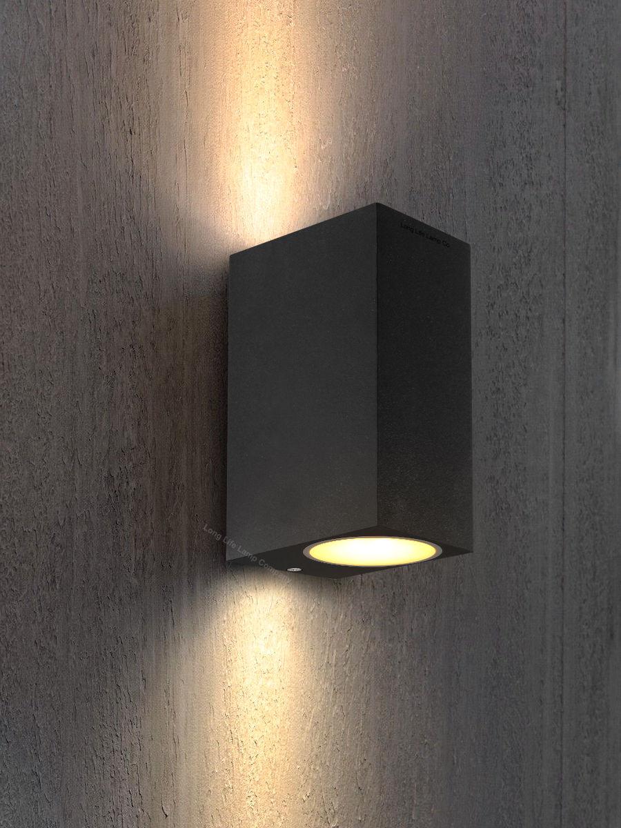 Moderne LED Mur De Haut En Bas Rectangulaire Mur Extérieur Lumière GU10 Ampoule Lampe Murale En Acier Inoxydable Jardin éclairage ZBD0082