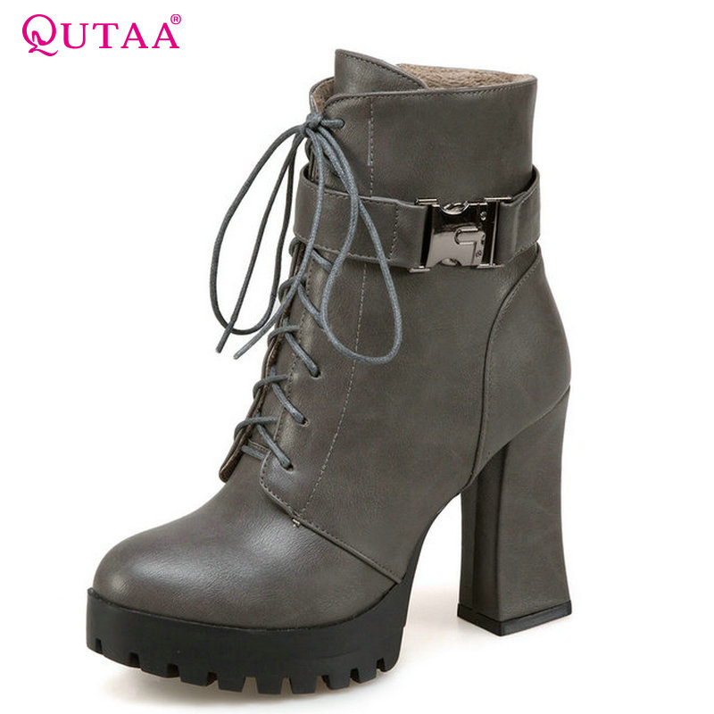 QUTAA 2018 Square High Heel Platform Women Ankle Boots Zipper and Lace Up Pu Leather Westrn Style Women Boots Size  34-43 vinlle women boot square low heel pu leather rivets zipper solid ankle boots western style round lady motorcycle boot size 34 43
