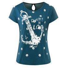 Summer T Shirt Women Bat sleeves tshirts Boat Anchor Printing T-shirt