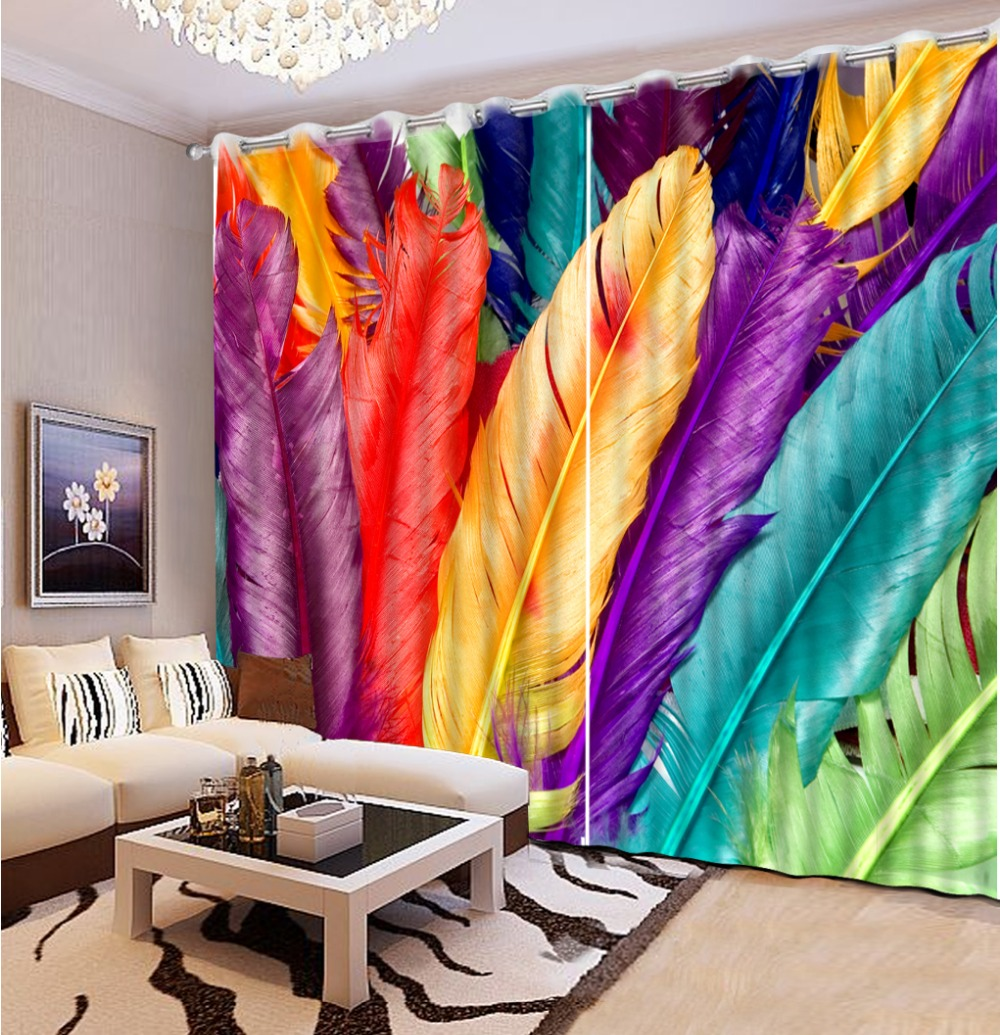 custom 3d stereoscopic luxury curtains for living room Color feathers embroidered voile curtains kitchen window curtains|curtains for|voile curtains|luxury curtains - title=
