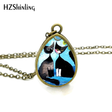 2017 New Colorful Cats Family Necklace Colorful Tear Drop Pendant Animal Jewelry Glass Necklaces Vintage Chain